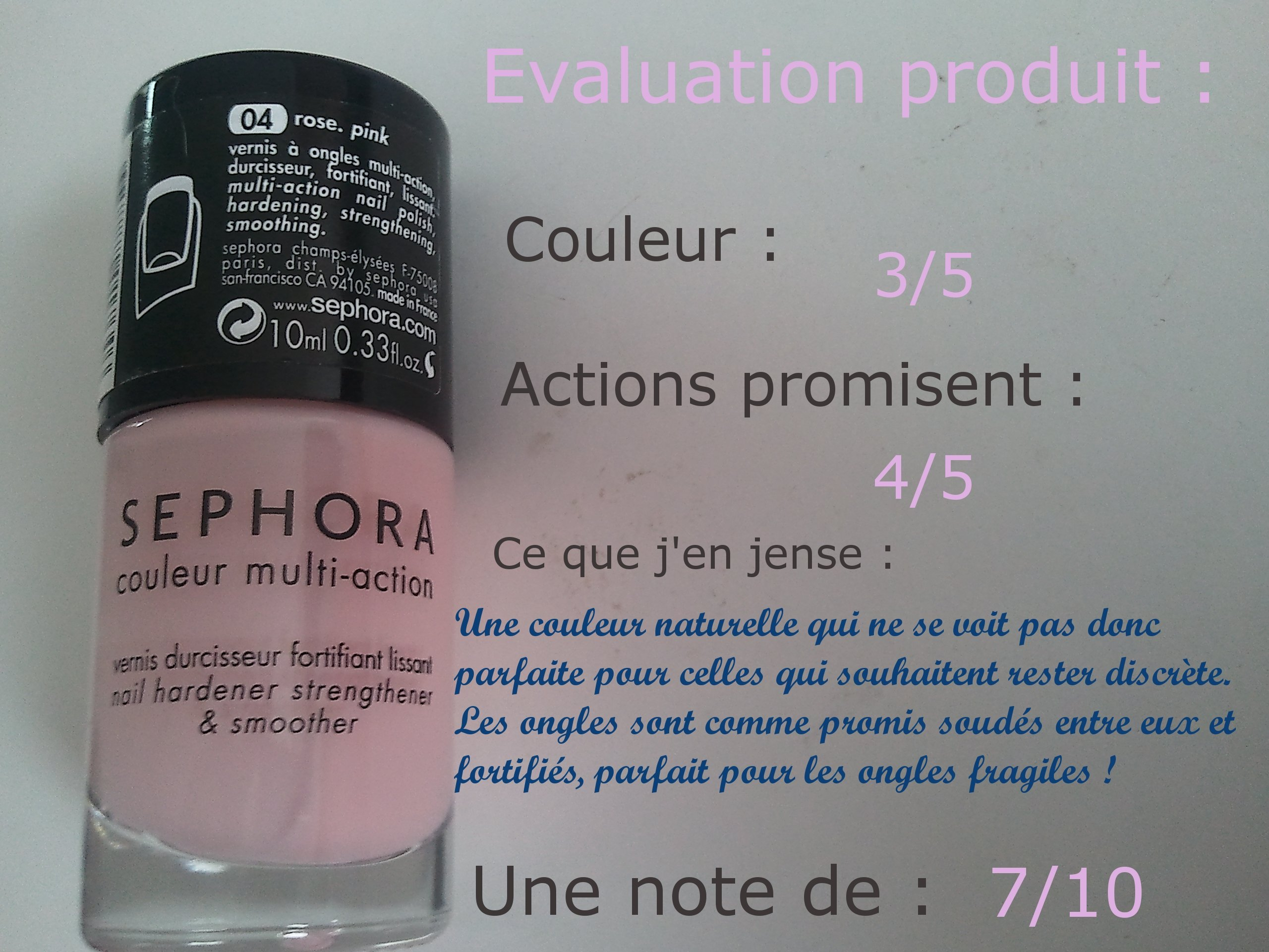 Vernis Sephora, rose, couleur multi-action à 6.50€
